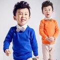 2016 весна осень детская одежда мальчики свитера твердые длинным рукавом трикотажных пуловеров свитера для мальчиков дети тонкий верхняя одежда