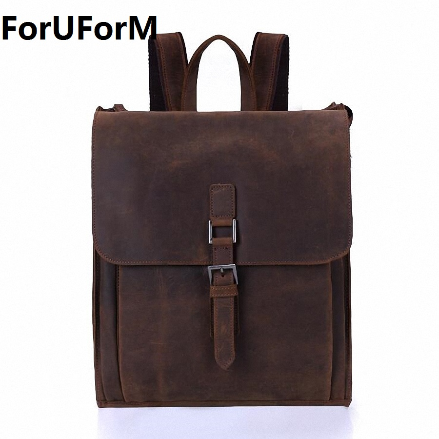 ForUForM Crazy Horse Cowhide Men Backpack Genuine Leather Vintage Travel Casual School Book Bags Brand Male Laptop Bags LI-1927 new arrival 2016 classic vintage men backpack crazy horse genuine leather men bag travel cowhide backpacks school bags li 1320