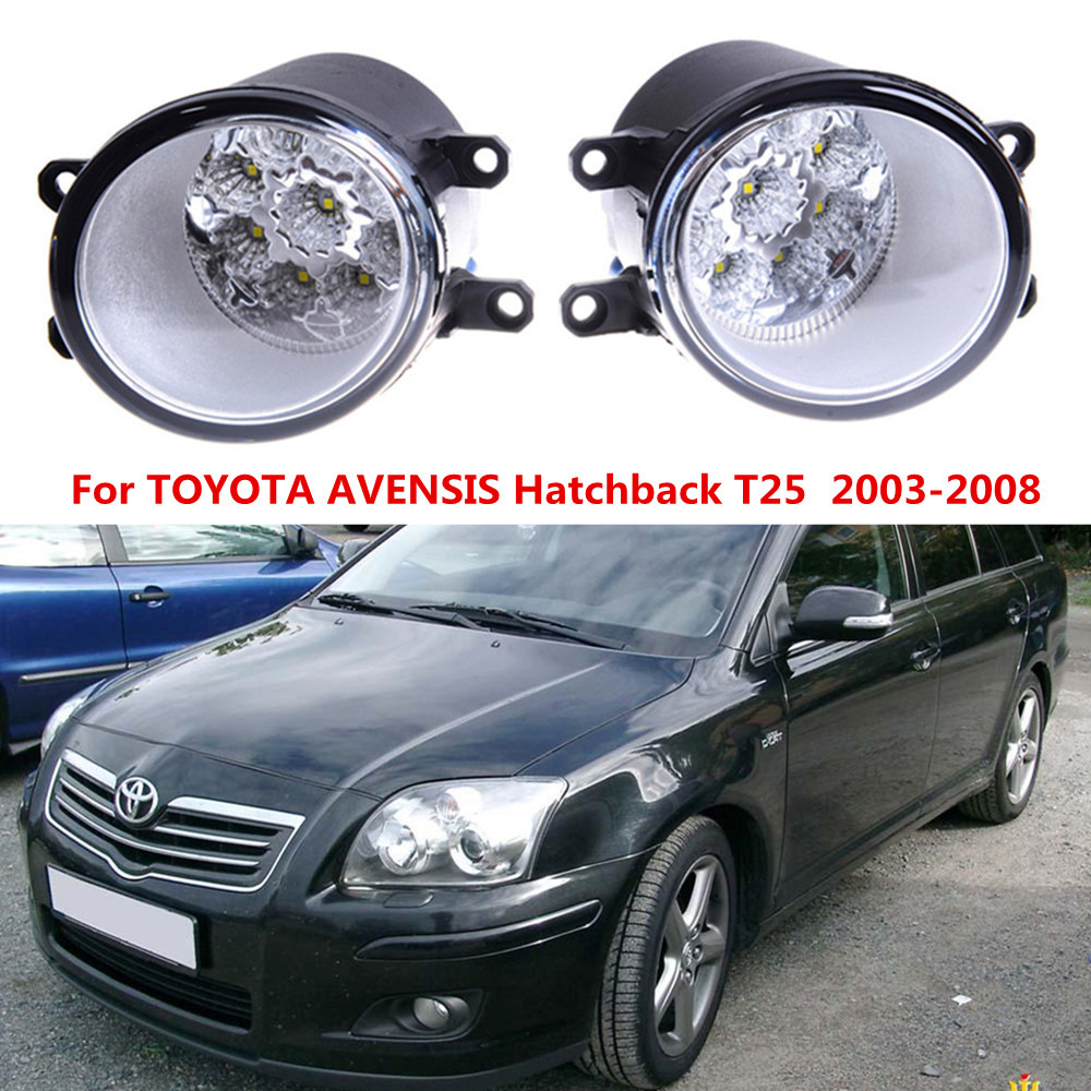 For TOYOTA AVENSIS Hatchback T25  2003-2008 Car styling front bumper LED fog Lights high brightness fog lamps 1set 2 pcs set car styling front bumper light fog lamps for toyota avensis 2003 2009 fog lights left right 81210 06052