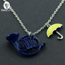 tv jewelry. tv jewelry how i met your mother necklace with blue french horn/yellow umbrella pendant himym silver chain cosplay jewel tv