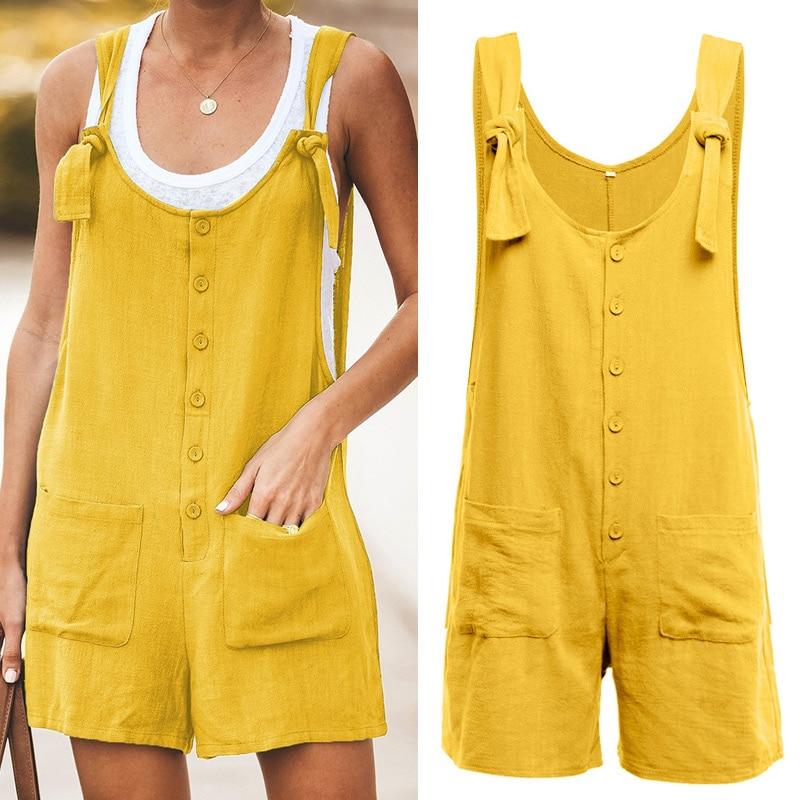 Women Cotton Linen Strappy Wide Leg Loose Jumpsuit Overalls Short Bib Pants For Summer FDC99