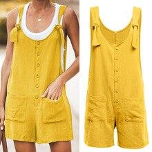 Women Cotton Linen Strappy Wide Leg Loose Jumpsuit Overalls Short Bib Pants for Summer FDC99 цена и фото