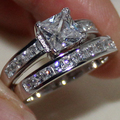 Вечности женщин Серебряная Принцесса cut Площади Имитация Алмазный CZ Камень Два Слоя Свадебные Кольца Наборы