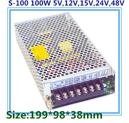 цена на LED switching power supply S-100,100W single phase output,AC input, output voltage 5V,12V.15V,24V transformer can be selected