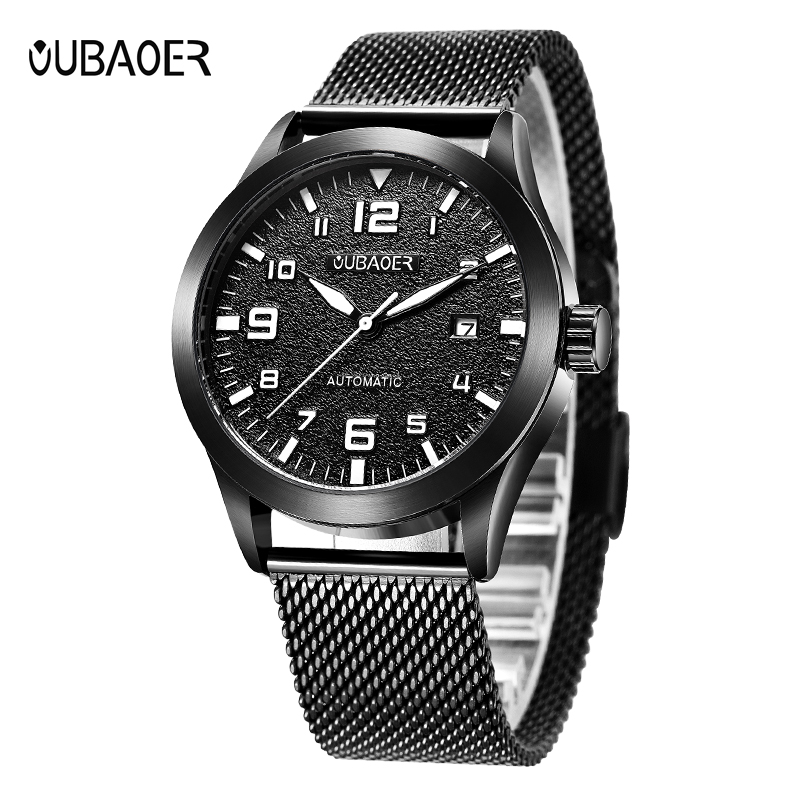 OUBAOER Auto Date Men Self Wind Mechanical Watches Mesh Stainless Steel Man Automatic Watch Montre Homme Automatique OB2028 стоимость