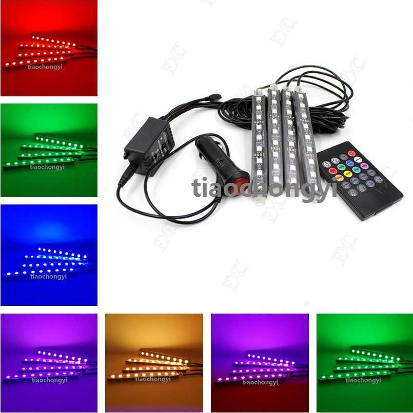 Wireless Remote Music Voice Control Colorful 9 LED Car Interior Light RGB Neon