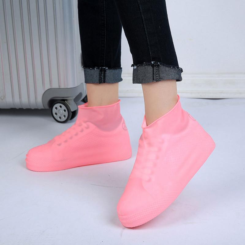 2018 Anti-slip Reusable Latex Shoe Covers Waterproof Rain Boot Overshoes Unisex Shoes Accessories