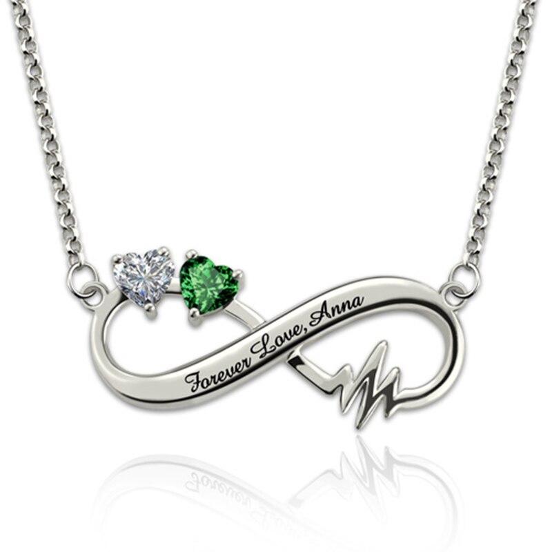 9de8dd8551f8 Grabado personalizado corazón infinito Collar nombre personalizado letra  piedra gargantilla cadena Collar de plata collares para amantes