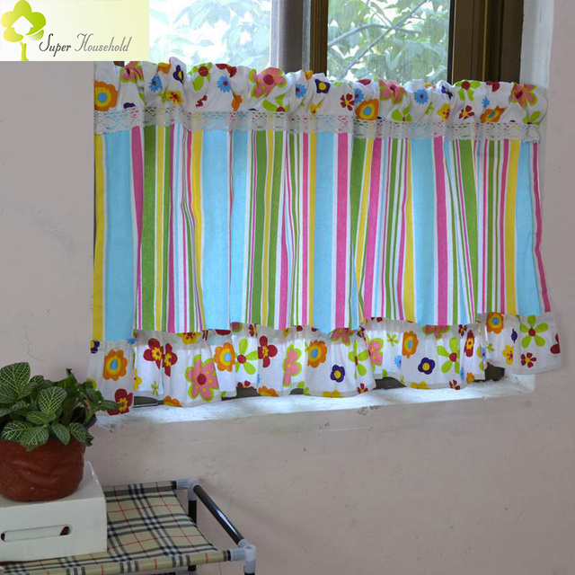 Striped Valance Curtains Multicolor Canopy Window Fringe Curtain Kitchen Door Short For Kids Bedroom Roman
