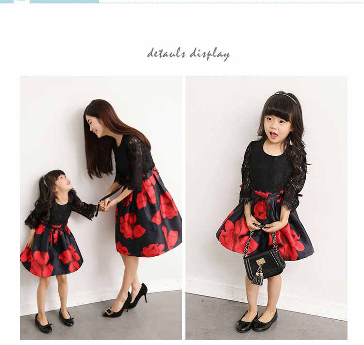 e3681e602f8fd Mommy Daughter Dress Matching Outfits Women Girl Baby Clothes Party Mama  Mother and Me Clothing Family Look Dresses Photography