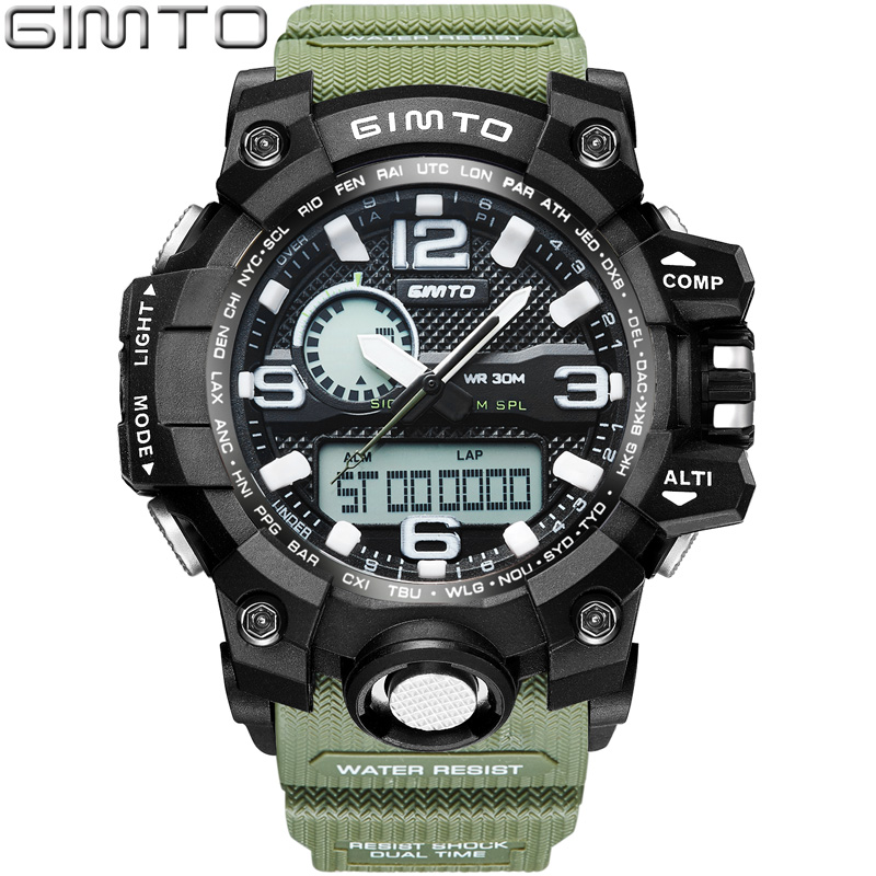 GIMTO Cool Digital Men Sport Watches Quartz Clock Dual Time LED Wristwatch Male Stopwatch Military Shock Watches Relogio Relojes men army watch military male quartz watches fabric canvas strap casual cool men s sport round dial relojes hot sale wristwatch