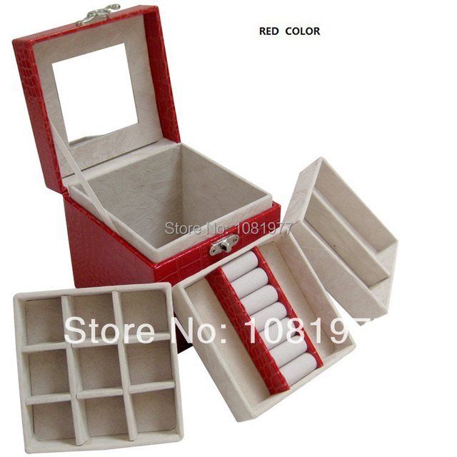 Portable PU Leather tray jewelry box cosmetic box jewelry accessories princess fashion storage box rose red ,red ,purple  pink