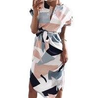 Boho Print Dresses New Summer Women 2017 V Neck Maxi Dress Short Sleeve Sundress Straight Party
