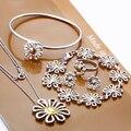 Горячие продажа новые серебряные комплекты ювелирных изделий кольца серьги браслеты ожерелья дихроичное сочетание дейзи оптовая бесплатная доставка