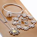 Hot sale new silver jewelry sets rings earrings bracelets necklaces dichroic combination of daisy wholesale free shipping