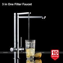 Высокое качество 3 в 1 дизайн фильтрованная вода горячая холодная вода Chrome фильтр для воды кран 3-х полосная фильтр кран смесителя