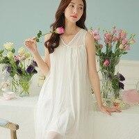 Spring And Summer The New Nightgown Loose Big Yards Pajamas Princess Palace Cute Net Yarn Modal