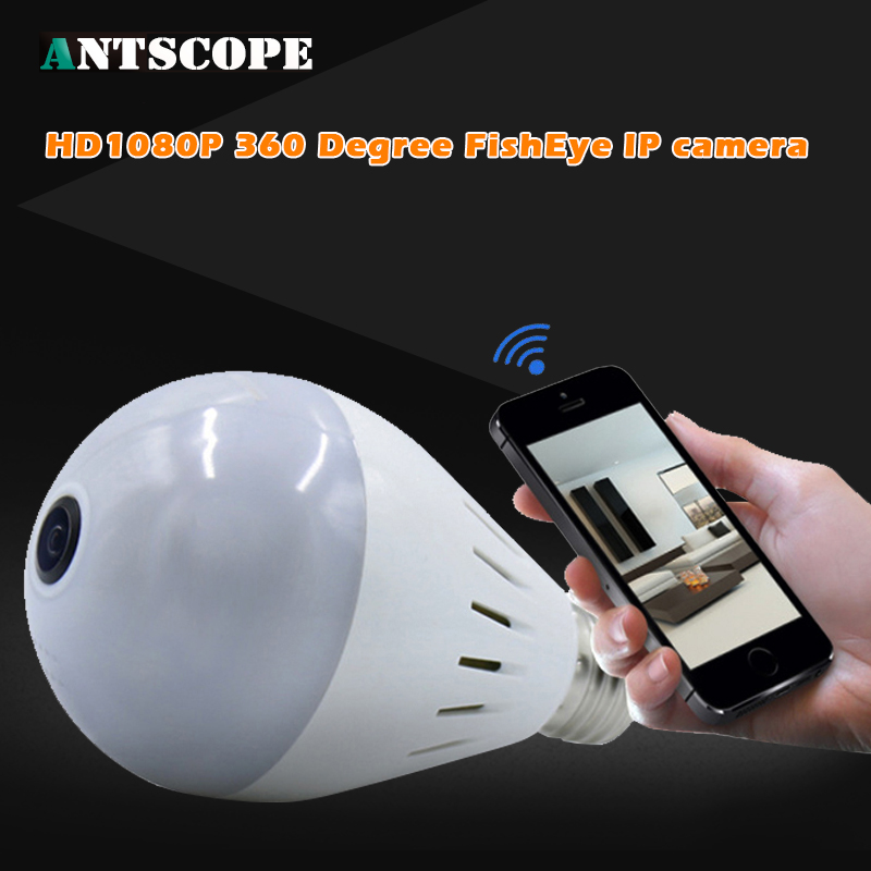 Camera Bulb Light Wireless HD IP Camera Wifi Home Security Fisheye 360 Panoramic P2P Audio Surveillance 1080P V380 Cameras new hd 3mp led bulb light wireless camera fisheye panoramic wifi network ip home security camera system for ios android p2p