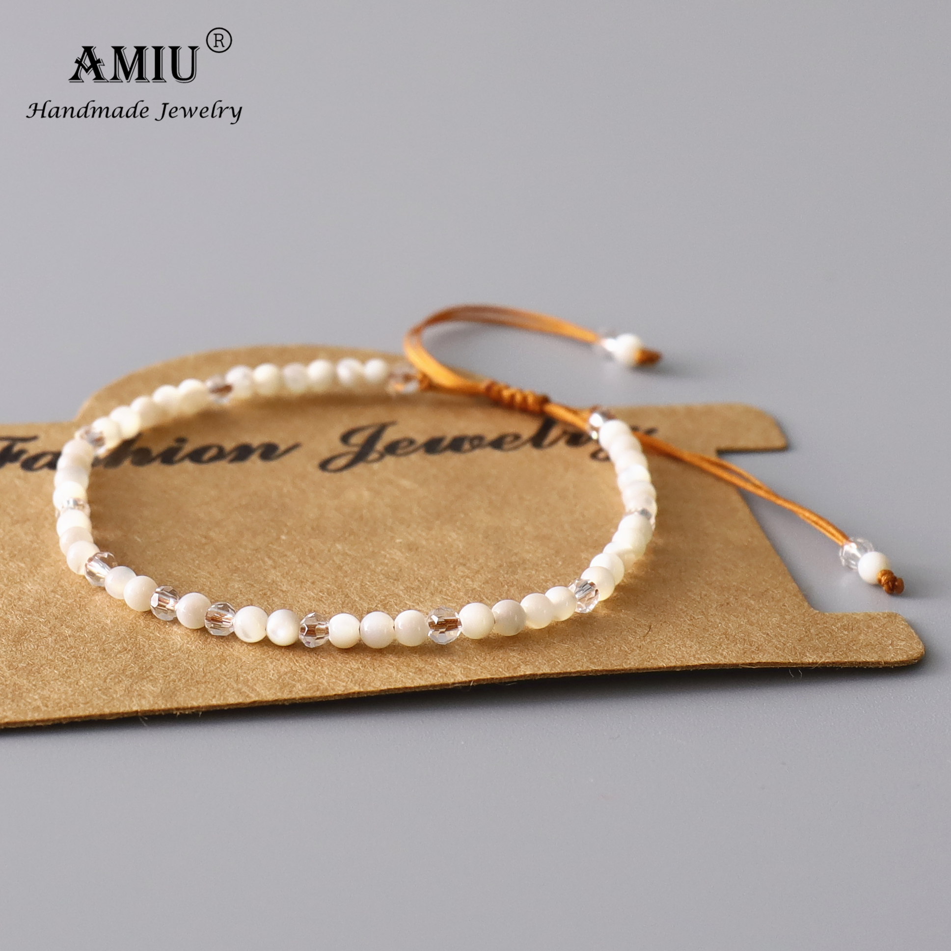 AMIU Natura White Mother Of Pearl Bracelet Beads Adjustable Bracelet Natural Crystal Bohemia Bring Lucky As Gift Bracelets