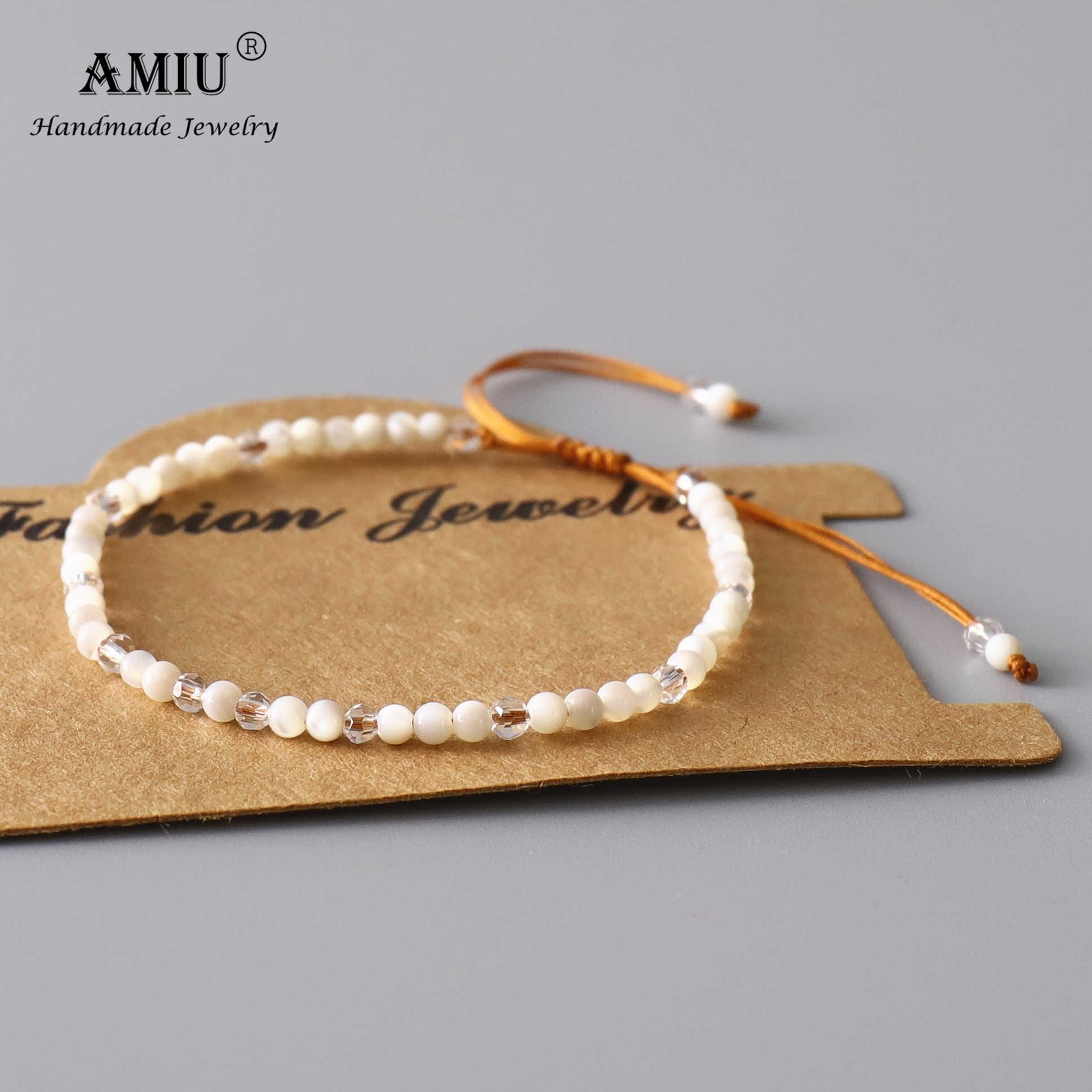 Pulsera de madre de perla blanca de AMIU Natura, pulsera ajustable de cristal Natural bohemio para dar suerte como pulseras de regalo