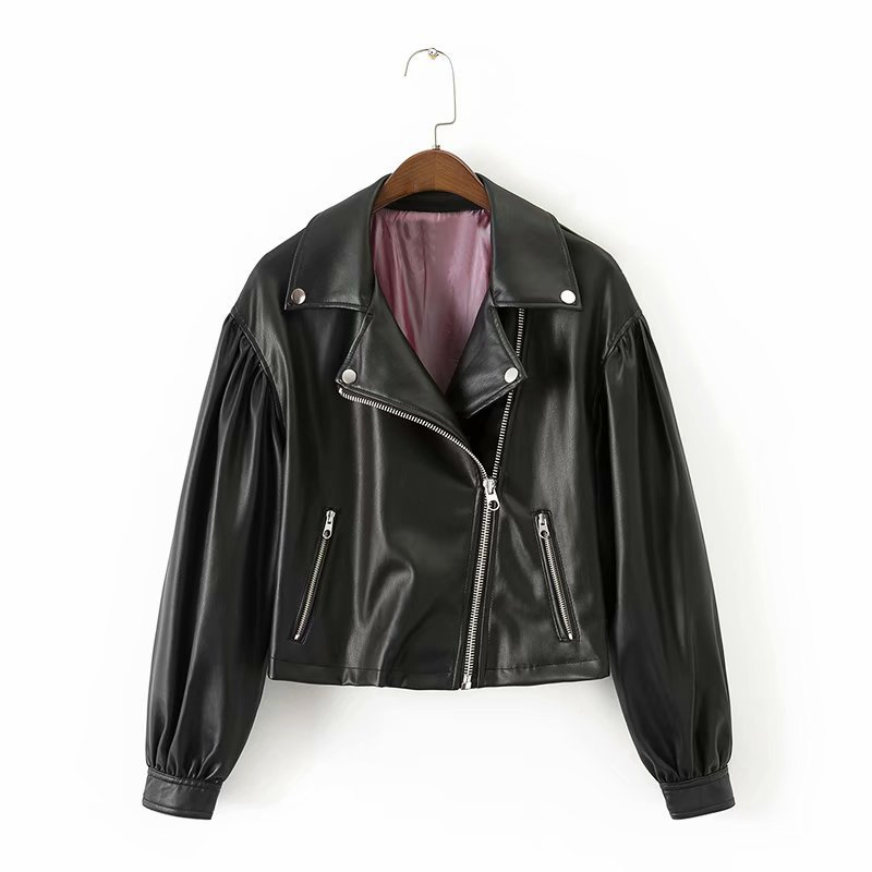 Hot sale XD55-1916 European and American fashion style loose short   leather   jacket