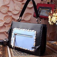 Ms Europe and the United States new cross section square leather bag Cowhide woven color hand held diagonal bag