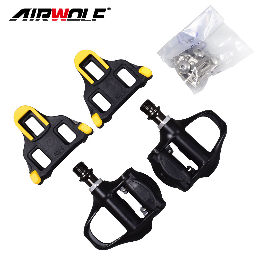 Airwolf Bicycle Accessories bicycle Pedal Anti slip Alloy Road Bike Pedal sealed Bearing Self locking Pedales