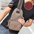 Squirrel fashion canvas solid unisex crossbody chest bag men messenger bags cowboy style hipster vogue travel knapsacks