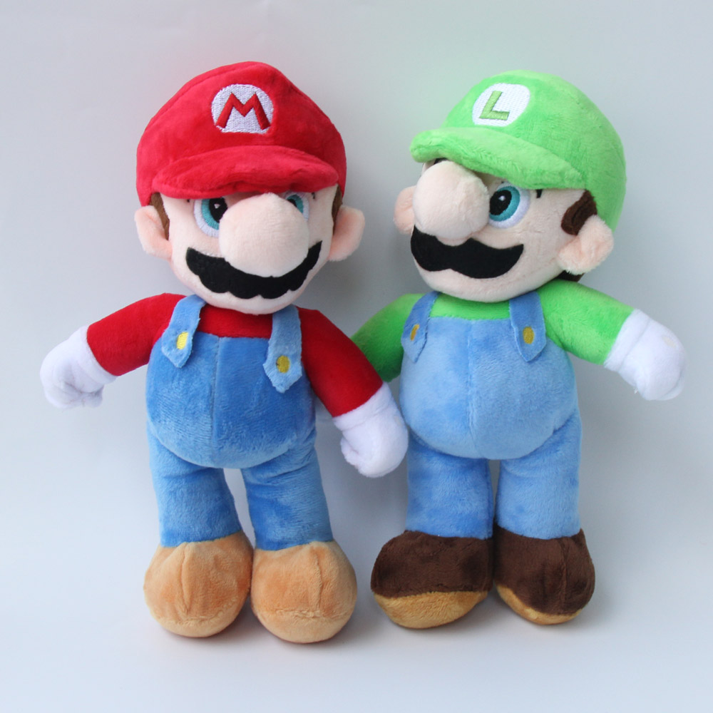 2 pcs/Lot New Super Mario Bros 10''25CM Stand MARIO Plush Doll Stuffed Toy Gift For Children