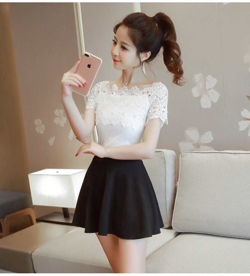Hollow Out Fashion Elegant Lace Patchwork Casual Women Top