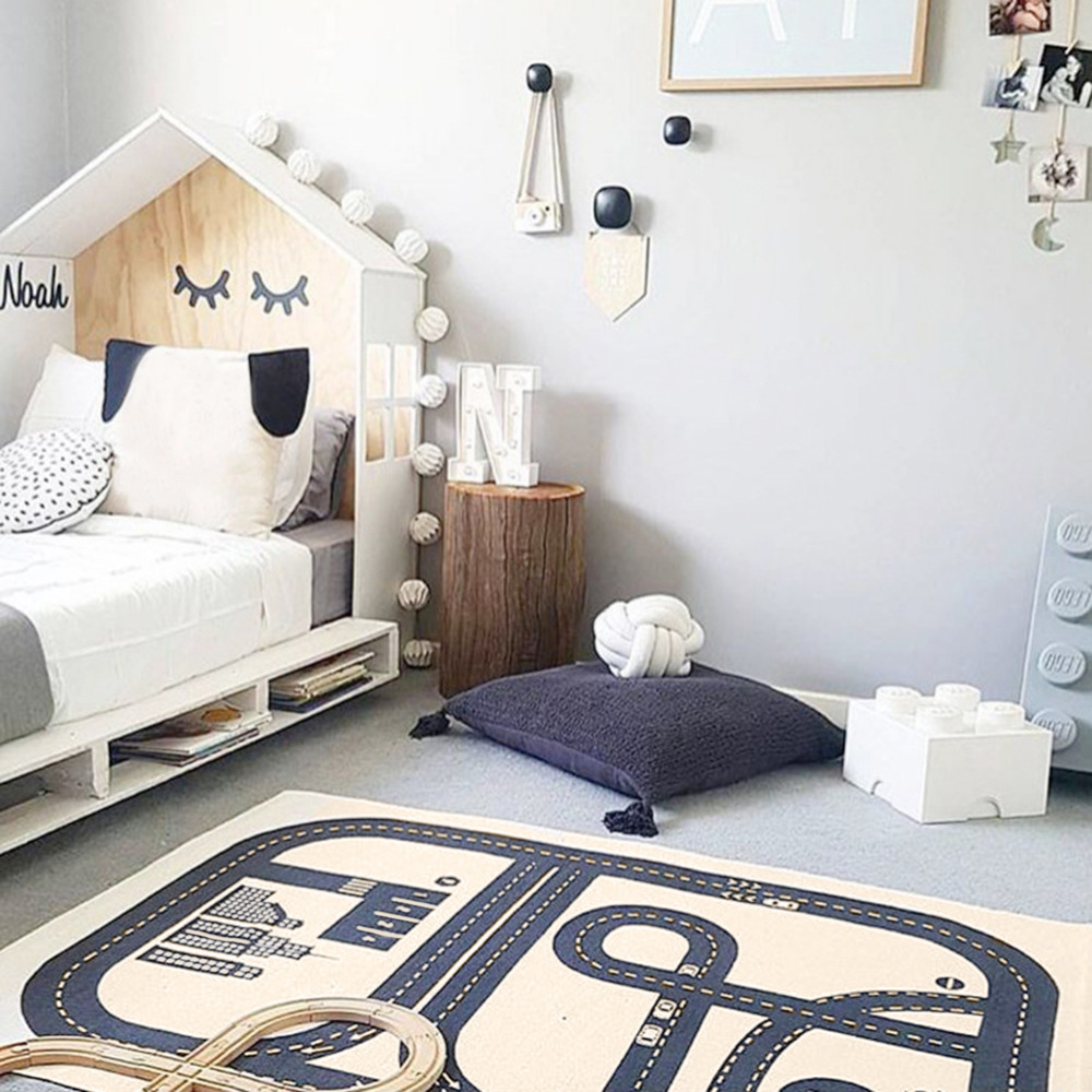 Rectangular Road Play Mat Activity Soft Cotton Floor Carpet Printing Exploring Crawling Play Rug for Bedroom Playroom Classroom