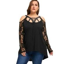 Women Plus Size Cold Shoulder Lace Up Top Black Lace T-Shirt Long Sleeve Big Size 5XL