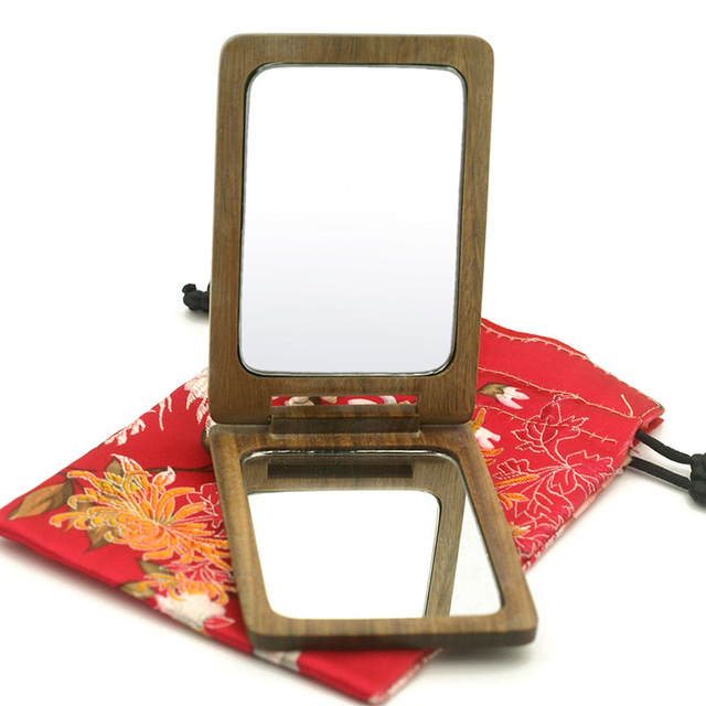 SUFEILE 1PC Green Sandalwood Double-sided Makeup Mirror Magnifying Glass Gift Portable Pocket Mirror Wooden Makeup Mirror D40