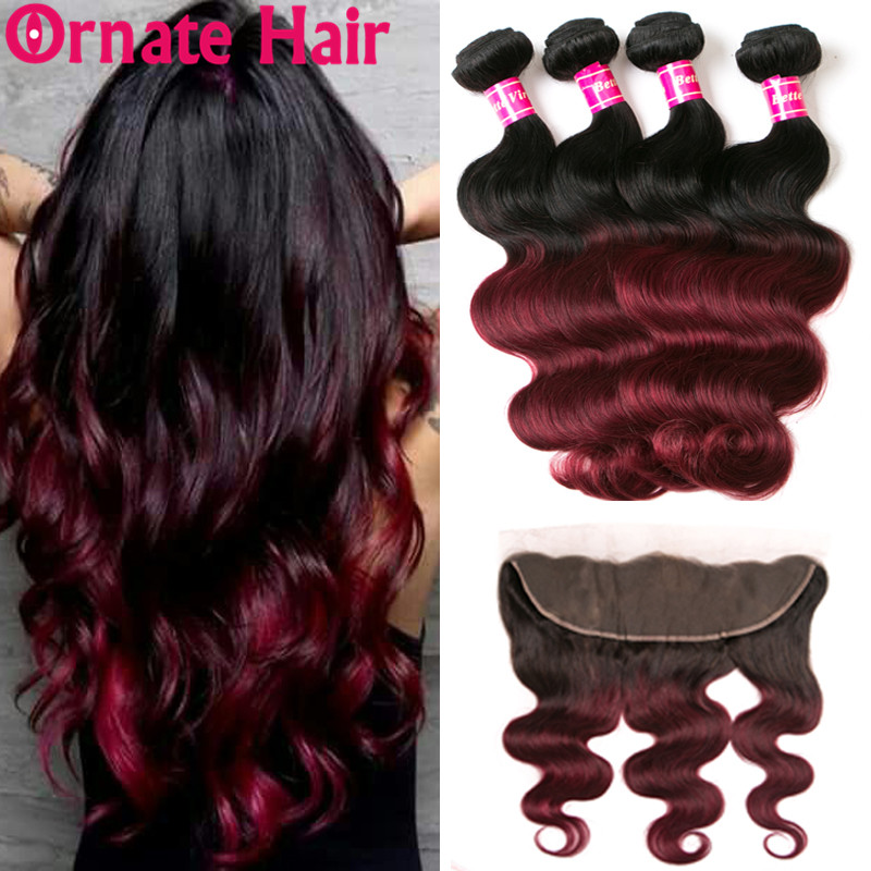 Ombre Hair Body Wave Bundle With Frontal Closure Brazilian Colored Human Hair Bundle With Closure 1B