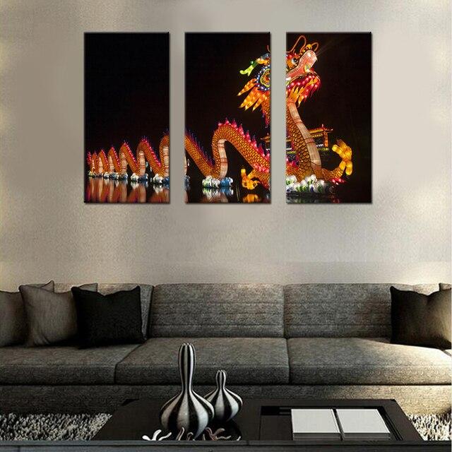 chinois dragon toile set dcor de mur de salon photos modulaire photos pour dcoration murale toile