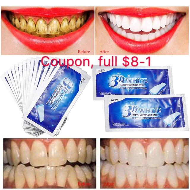 Smile white teeth 20Pcs/10Pair 3D White Gel Teeth Whitening Strips Oral Hygiene Care Double