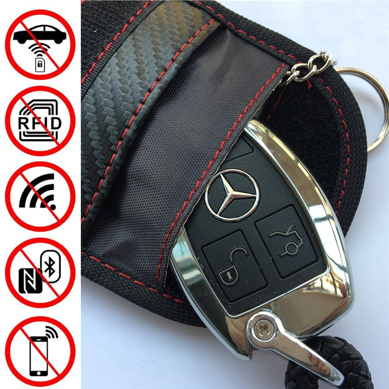 Anti-Theft Keyless Entry Car Key Cover RFID Signal Radiation Blocking Farady Bag Car Key Wallet