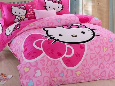 Hello kitty comforter set Pink Girls bedding sets Quilt cover sets