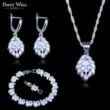 Best Love Present For Lady/Women 925 Stamp Silver Color Jewelry Sets For Women Australian Crystal White Zircon Jewelry Bracelet(China)