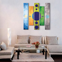 Large 5 Piece Wall Pictures Art Sets Hand painted Abstract Oil Painting Round Circles Canvas Paintings For Living Room