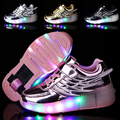 New Style Child Junior Girls Boys LED Light Roller Skate Shoes For Children Kids Sneakers With Wheels Breathable