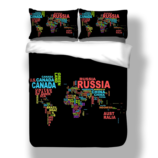 bcbb05abdc44c 3D World Map Printed Bedclothes Microfiber Bed Linen set Single Double  Adult's US Queen Bed Duvet Cover Bed and Bedding Set