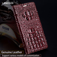 Luxury Genuine Leather flip Case For Samsung A8 case 3D Crocodile back texture soft silicone Inner shell phone cover