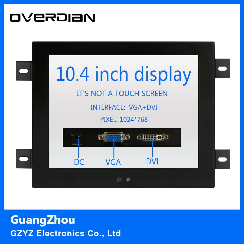 10.4/10VGA/DVI interface Non-touch Screen Industrial Monitoring Machines Metal Shell Embedded Lcd Monitor1024*768 Hanger Fixed 8 8 4 inch vga dvi interface non touch industrial control lcd monitor display metal shell buckle card installation 4 3