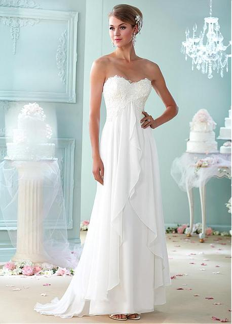 Lace Chiffon Informal Beach Maternity Wedding Dresses Empire Waist ...