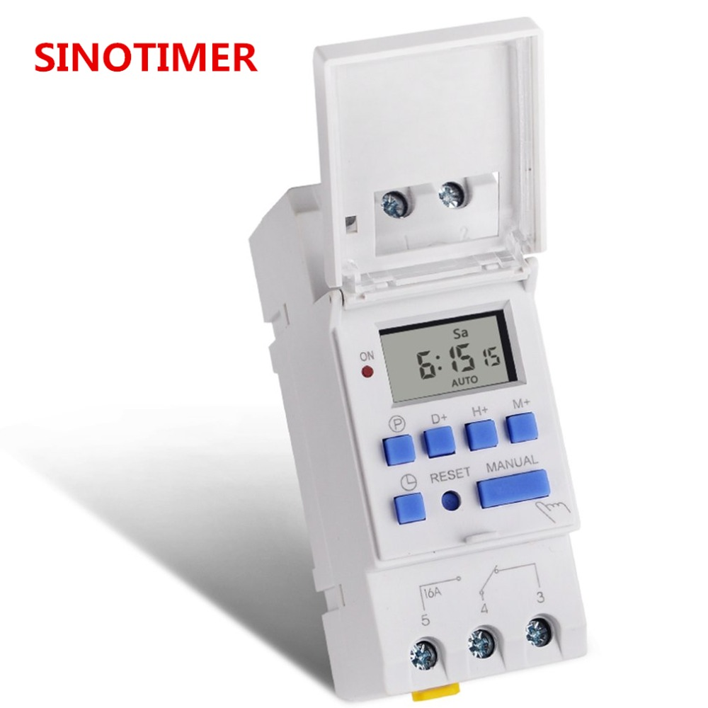 цена на SINOTIMER AC 220V/110V/24V/12V Weekly 7 Days Programmable Digital Time Switch Relay Timer Control Din Rail Mount for Electric Ap