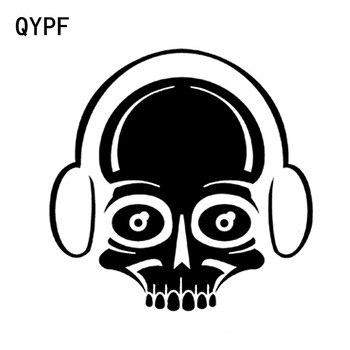 QYPF 15.6CM*15.5CM Interesting Lovely Earphone Skull Graphic Car Sticker Black/Silver Vinyl Decoration S9-2121