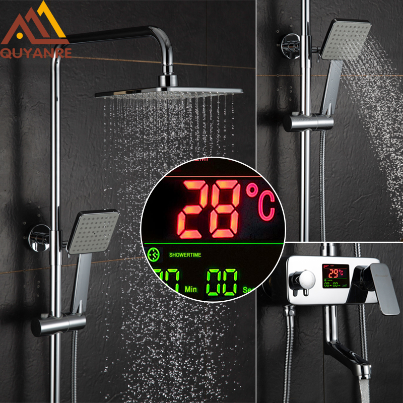 Quyanre Chrome Digital Display Shower Faucet Set Water Dynamic Digital Intelligent Digital Display Shower Faucet Led Shower цена