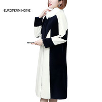 Faux Fur Coat Women Plus Size Winter New Korean Fashion Fur Elegant Slim Long Coat Covered Button Stand Faux Fur Coat LRY345