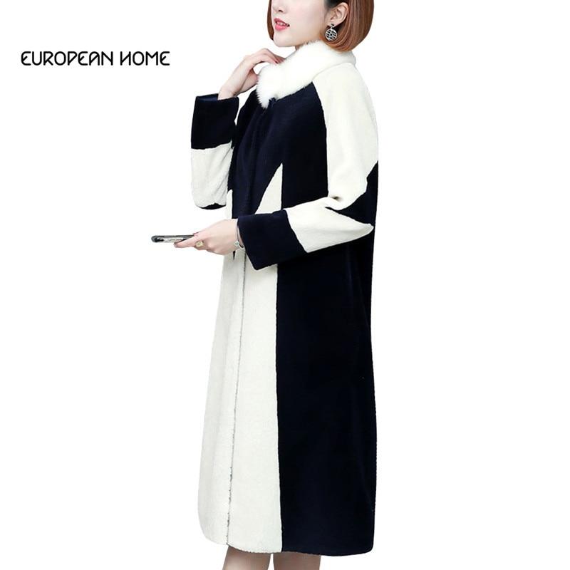 Manteau en fausse fourrure femmes grande taille hiver nouvelle mode coréenne fourrure élégant mince Long manteau couvert bouton Stand fausse fourrure manteau LRY345